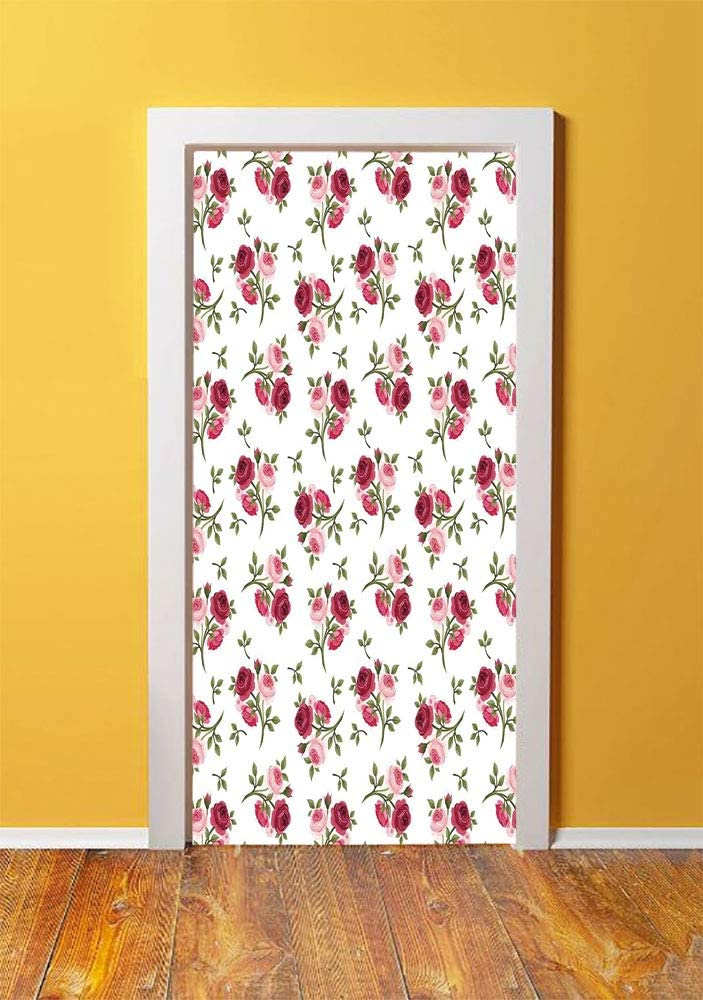 Roses Decorations 3D Door Sticker Wall Decals Mural Wallpaper,Pattern with Rose Stems Flowers Garden Classic English Style Design Repeat Art Decorative,DIY Art Home Decor Poster Decoration 30.3x78.134