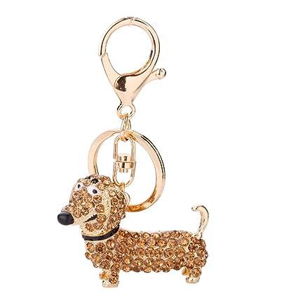 b9935d9e925 Qinlee Dachshund Keychain Crystal Dog Shape Keyring Handbag Purse Pendant  Car Holder Key Ring Jewelry Rhinestones