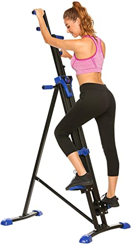 FUNMILY Vertical Climber Home Gym Exercise Folding Climbing Machine Exercise Bike for Home Body Trainer Stepper Cardio Workout Training Non-Stick Grips Legs Arms Abs Calf Blue