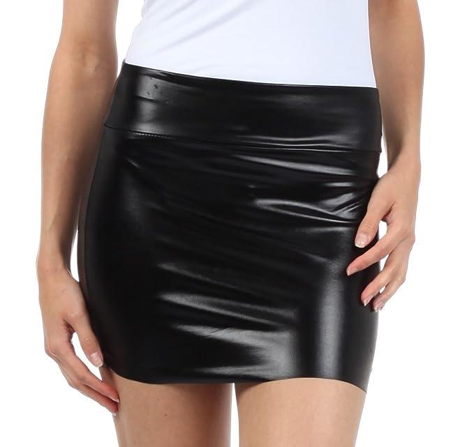 Sakkas Women's Shiny Metallic Liquid Mini Skirt at Amazon Women's ...