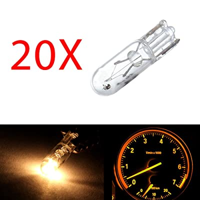 20 pcs T5 17 86 206 White Halogen Light Bulb Instrument Cluster Gauge Dash Lamp 12V: Automotive
