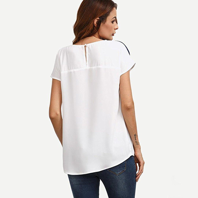 Yuson Girl Blusas para Mujer, Blusa Casual de Manga Corta de Gasa de Color Block para Mujer Blusas de Túnica Camiseta Mezcla de Algodón Cuello EN V Chaleco ...