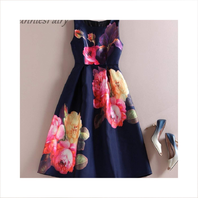 4 Women Vintage Retro Flower Floral Print Vest Dresses Sleeveless ONeck