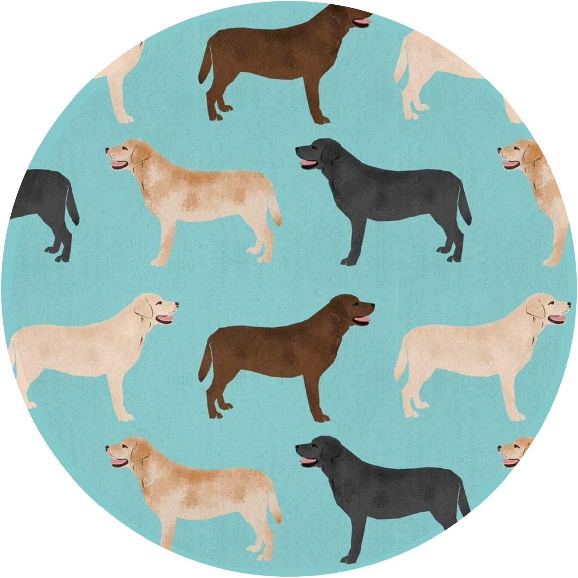 Soft Flannel Doormats Non-Slip Circle Art Mats – Modern Fashion Cute Labradors Yellow Chocolate Black Lab Pet Dogs Round Mat, Baby Kids Protector Playing Rug Carpet, 24 Inches Bath Rug Carpet