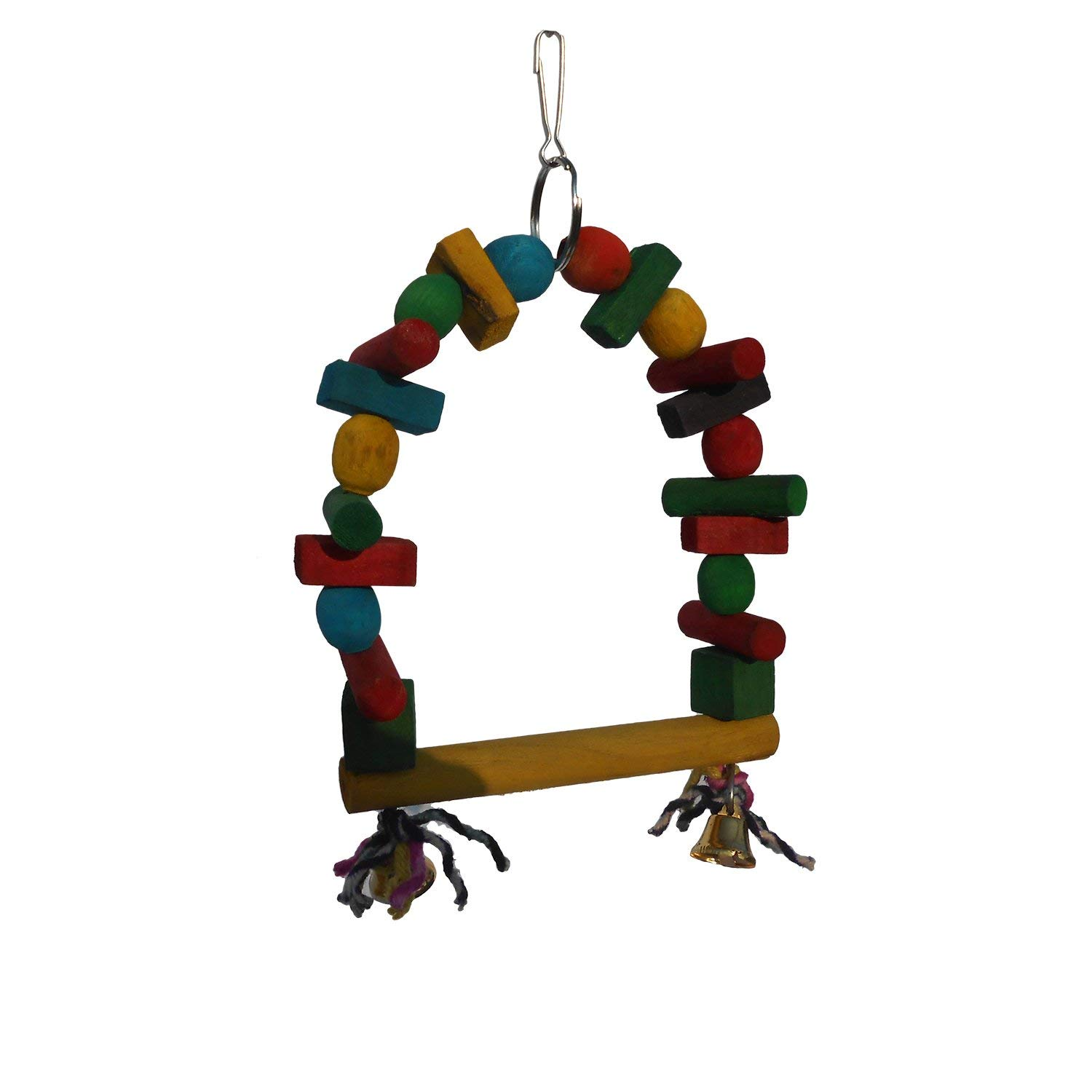 KSK Birds Swing for Lovebird/Parrot/Pet, Bird, Parrot, Parakeet, Budgie, Cockatiel Cage Hammock Swing Toy Hanging Toy [Medium] [with Small Bells] (Style 2) by KSK