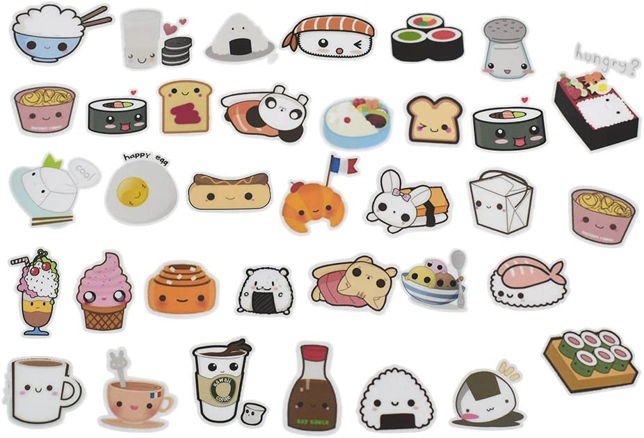 Cute Food Stickers Cartoon Cake Tea Diary Scrapbooking Labels Decorative Tags