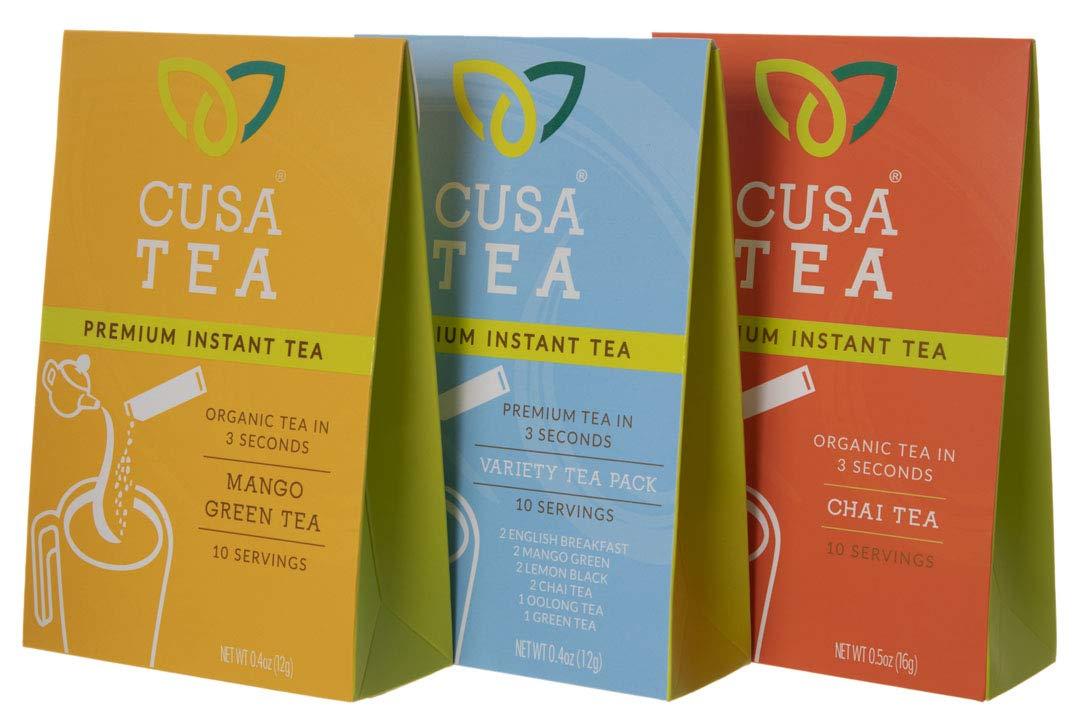Variety Pack of Cusa Tea Premium Organic Instant Tea - Cold Brew Tea - USDA Organic Certified Tea - Zero Sugar, Preservatives or Flavorings (Variety Pack, Mango Green, Chai)