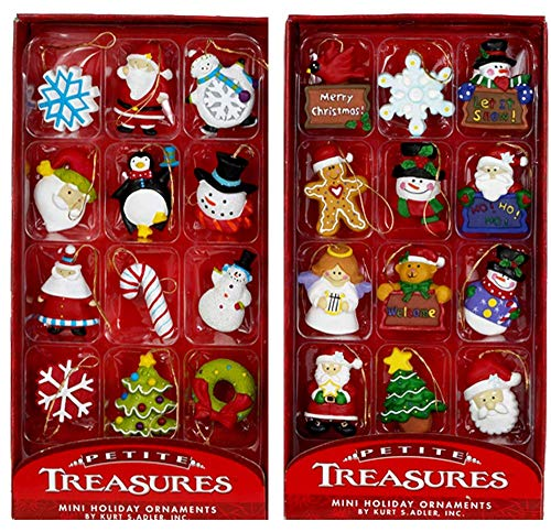 Kurt Adler Petite Treasures 12-Piece Miniature Ornaments Set, 2 Pack (Miniature Tree Decorations)
