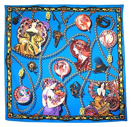 BDJ Women's Nouveau Art Print Charmeuse Silk Oversize Scarf Shawl Wrap (Royal - 70s Scarf