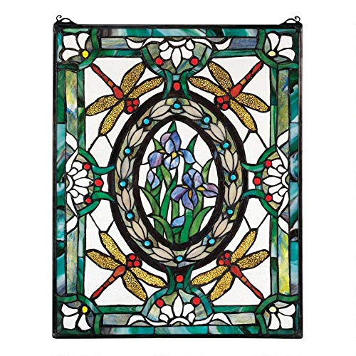 Design Toscano Dragonfly Floral Stained Glass Window Hanging Panel, 25 Inch, Stained Glass, Full Color from Design Toscano