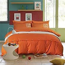 COMFORTEX Bedding Set Queen/Full Size 4Pcs Soft Comfortable 100% Pure Cotton Solid Color 1 Duvet Cover, 1 Flat Sheet, 2 Pillowcases (Queen, Orange)