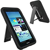 Galaxy Tab 2 7 Case KIQ (TM) Heavy Duty Hybrid Silicone Skin Hard Plastic Case Cover Kick Stand for Samsung Galaxy Tab 2 7.0 P3100 - Black / Black
