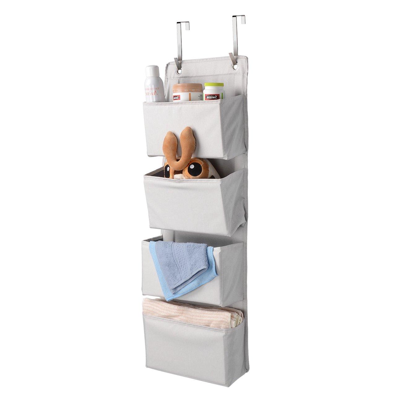 SortWise 4 Pockets Over Door Hanging Organizer, Polyester Wall Closet Storage Bag Case with 2 Metal Hooks for Bedroom, Kitchen, Bathroom