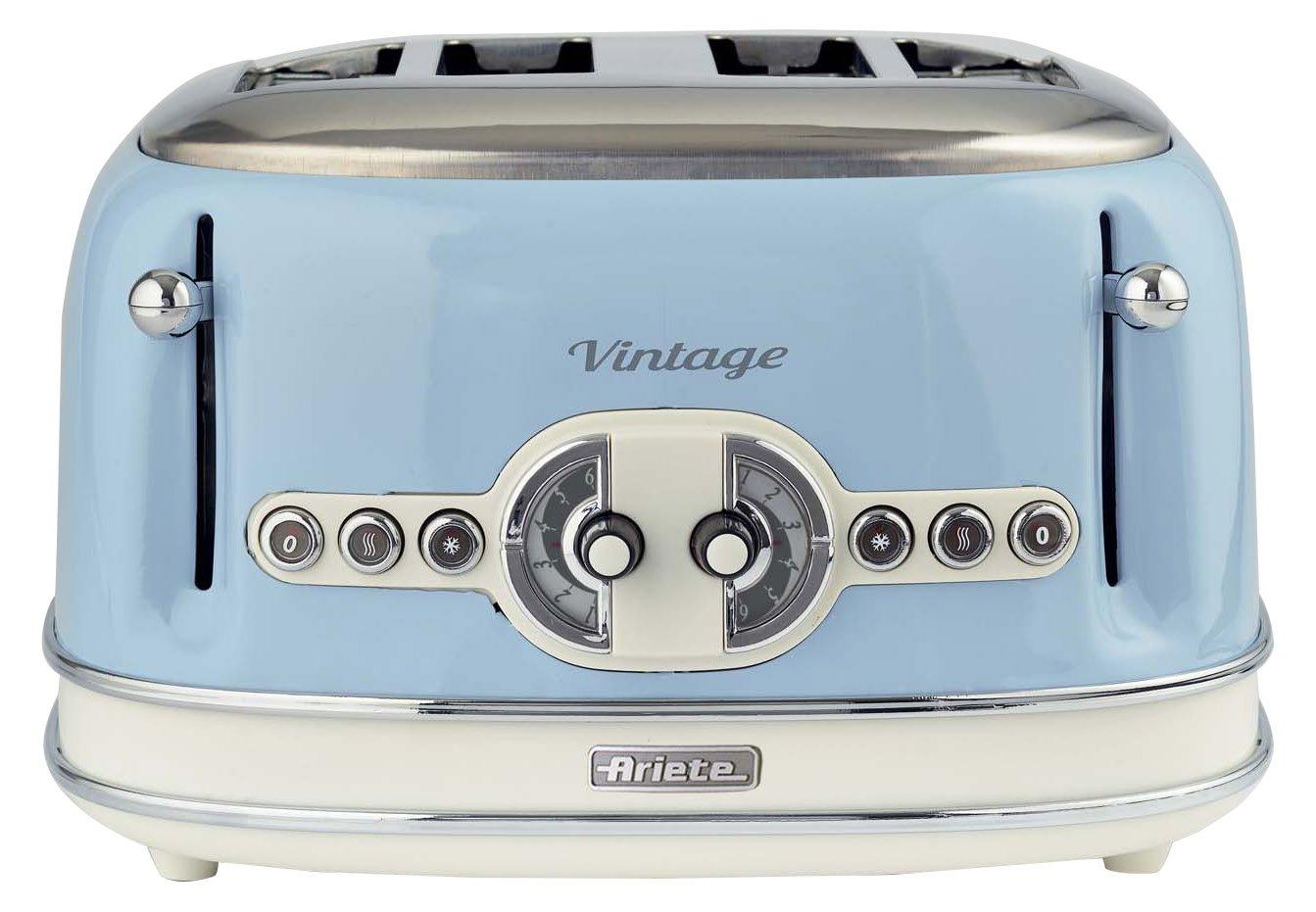 vier scheiben vintage toaster in retro blau von ariete