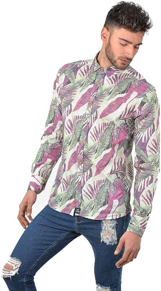 DIVARO - Camisa Estampado Hojas Manga Larga Color Burdeos - para Hombre (S): Amazon.es: Ropa y accesorios