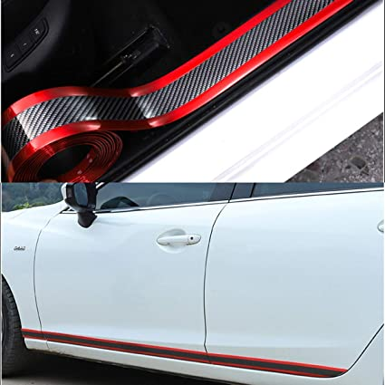 1pc Silver Carbon Fiber Anti-Collision Strip 5cm2.5m Side Skirt Door Sill Protector Edge Guard Strip Suitable for Most Cars