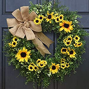Large Artificial Eucalyptus, Mixed Greenery and Yellow Sunflower Wreath for Front Door Decor; Spring Summer Year Round Farmhouse Porch Decoration with Burlap Bow; 24 Inch 66
