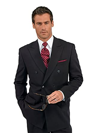 Paul Fredrick Men's 100% Wool Double Breasted Peak Lapel Suit ...