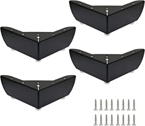 Zorfeter 2 Inch Furniture Legs, Set of 4 Metal Sofa Feets DIY Replacement Parts Minimalist Design for Cabinet Cupboard Sofa Couch, Matte Black