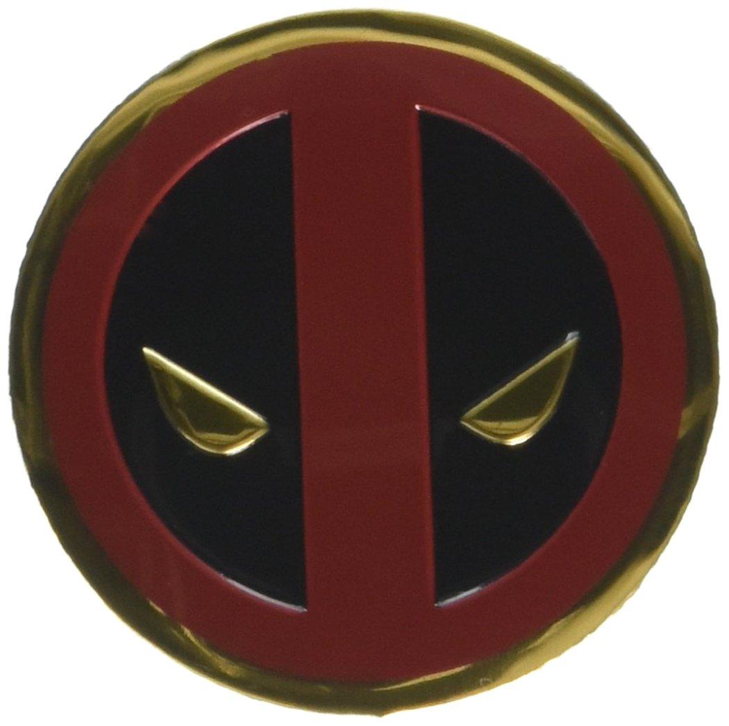 Classic DEADPOOL Icon, Officially Licensed Marvel Artwork, Premium Vinyl Gold Metallic Finish, 3cm Metal Sticker Pegatina Officially Licensed & Trademarked Products S-MVL-0031-M