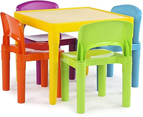 Amazon Com Kids Activity Table And Chairs Set Plastic Table And 4pcs Chairs Sets Colorful Study Arts Crafts Dining Table For Toddler Little Kid Children Furniture Accessories Colorful One Size Kitchen Dining