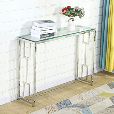 Buy Glass Console Table Modern Narrow Tables For Entryway Silver Sofa Hallway And Hollow Side Online In Indonesia B08glpb5xn