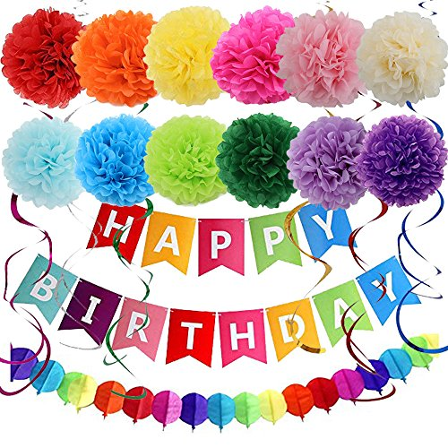 Price comparison product image Sonnis Tissue Paper Pompoms Kit Paper Flowers,  Paper Lanterns and Ceiling Hanging Swirl Decoratio (Multicolor-02)