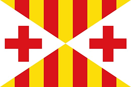 magFlags Bandera Large Vic Barcelona, Cataluña, España | Bandera Paisaje | 1.35m² | 90x150cm: Amazon.es: Jardín