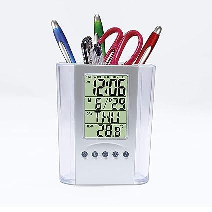 Un Nuevo Tipo de soporte para bolígrafo con reloj digital. Muestra el tiempo, fecha