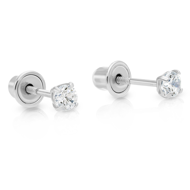14k White Gold Cubic Zirconia Stud Earrings with Screw Backs (2.5mm)