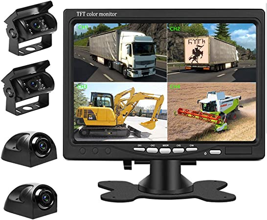 Liehuzhekeji Car Backup Camera and Monitor Kit, 7 Inch HD Quad Split Monitor 4 Pieces Waterproof IR Night Vision Front Rear Side View Cameras for Car RV Truck Pickup Van Camper Reversing Use