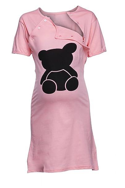 Color: Happy Mama. Para Mujer Camisón Premamá Embarazo y Lactancia Oso de Peluche. 984p (
