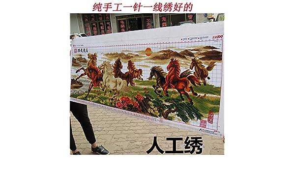 AIGUFENG bordado buen punto de cruz acabado hecho a mano del caballo ocho caballo mapa ocho caballos pinturas sala de estar,240 * 78 cm: Amazon.es: Hogar