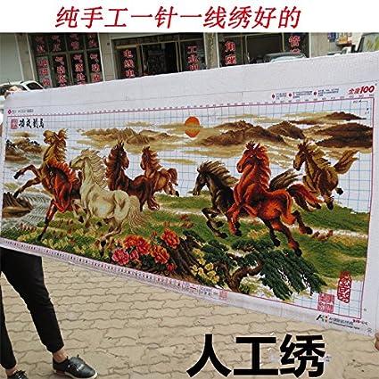 AIGUFENG bordado buen punto de cruz acabado hecho a mano del caballo ocho caballo mapa ocho