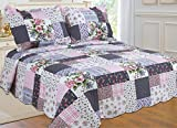 navy and green quilt - All for You 3-piece Reversible Bedspread/ Coverlet / Quilt Set-, pink, burgundy, blue,navy and green Patchwork prints (Full/Queen)