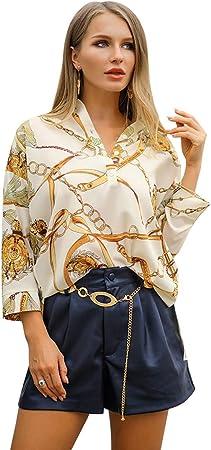 W&TT Blusa con Estampado de Mujer Top Escote en V Manga Hombro caído Camisa Irregular Dobladillo,L: Amazon.es: Hogar