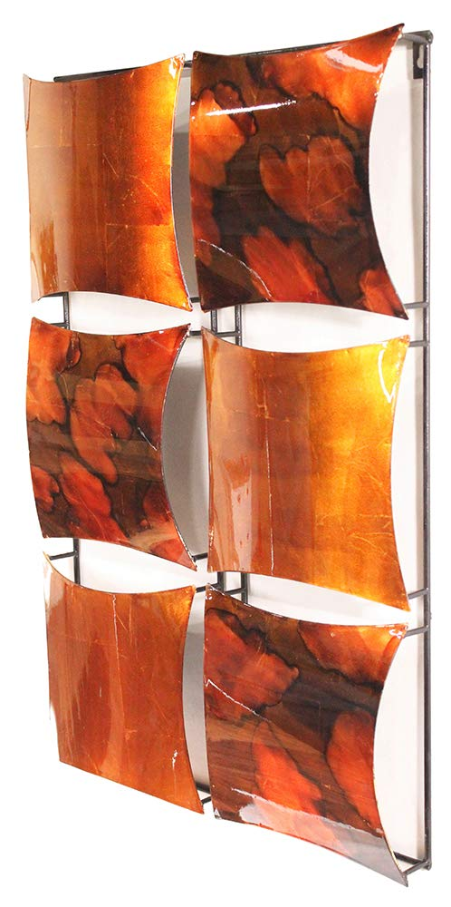 Metal with Foil Drip and Lacquer Finish in Copper Brown and Green 16.2 x 16.2 x 2 W0886-04 16.2 x 16.2 x 2 Heather Ann Creations 4 Square Panel Decorative Metal Wall Art