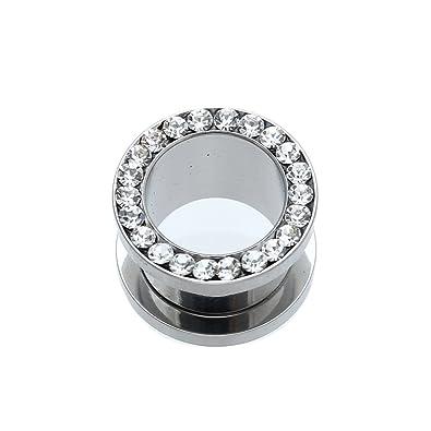 Dilatador Dilatación Piercing Acero Inoxidable Diamante de Imitación 12mm: Amazon.es: Joyería