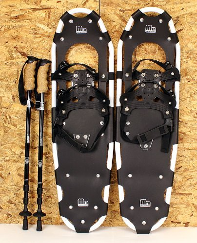 New MTN Extreme Lightweight All Terrian Man Woman Kid Teen Snowshoes up to 255 lbs /Free Bag + Nordic Pole - WHITE (25'' inch)