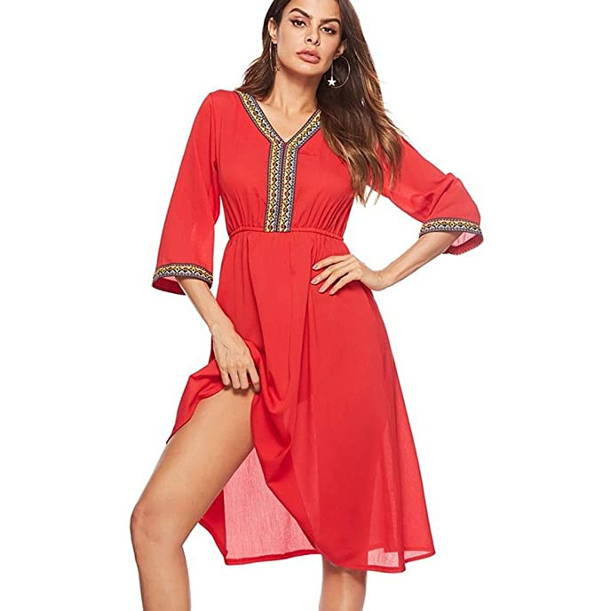 6b6c9b7efaf82 FOLOIN Women's V-Neck Mid-Sleeve Stitching Lace Dress Summer Red Dress at Amazon  Women's Clothing store: