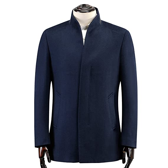 f2612e929 Ding Tong Men s Blue Wool Trench Mandarin Collar Single Breasted ...
