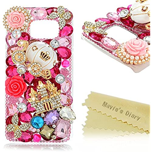 Galaxy S7 Case - Mavis's Diary Luxury 3D Handmade Bling Crystal Golden Castle Cute Pumpkin Car with Shiny Sparkle Pink Diamonds Flowers Design Clear Hard Cover Sales