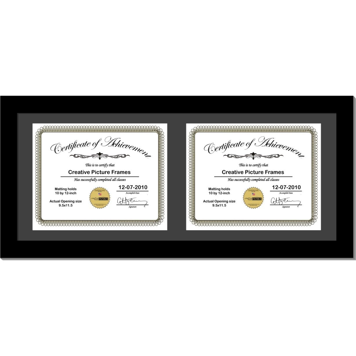 CreativePF [14x24bk-b] Black Horizontal Double Diploma Frame with 2 Opening Black Mat, Holds 2-10x12-inch Documents with Wall Hanger