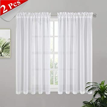 Amazoncom Pony Dance 45 Inch Linen Curtains Sheer Curtains Short