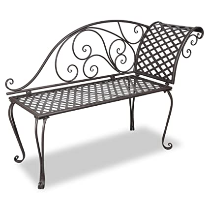 Surprising Vidaxl Garden Chaise Lounge 128Cm Steel Antique Brown Outdoor Bench Seat Chair Ncnpc Chair Design For Home Ncnpcorg