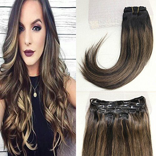 """BeautyMiss 16"""" 7pcs/set 120g Clip in Hair Extensions Brazilian Human Remy Hair Balayage Ombre Extensions Dip Dyed Color Black Fading to brown and Black Highlighted Hair Clips"""