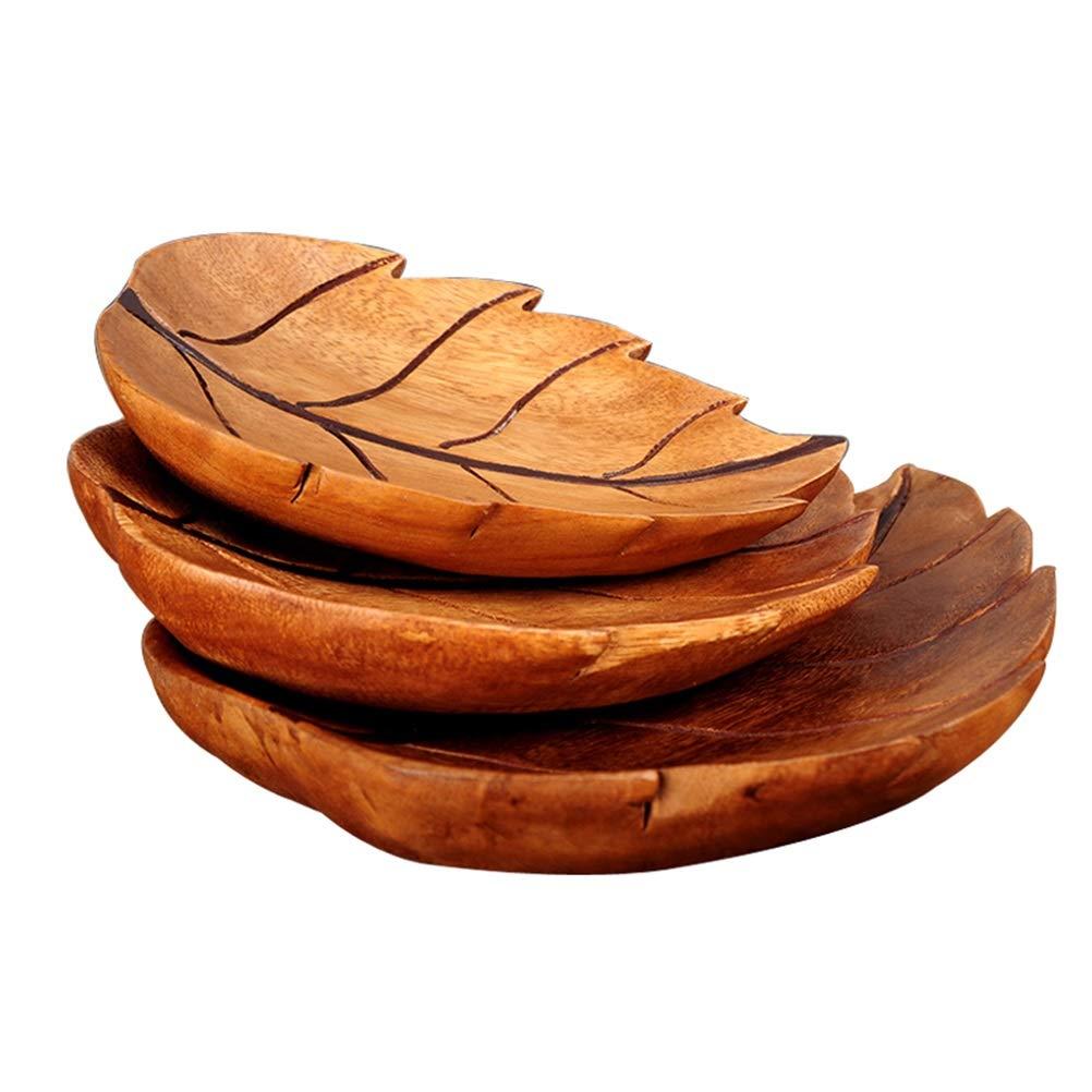 THOR-YAN フルーツバスク木彫りフルーツプレートクリエイティブリーフフルーツディッシュスリーピースフルーツトレイキャンディコポート -フルーツバスケット   B07PG42CRM
