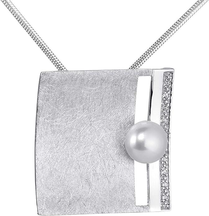 MATERIA 925 Silber Kettenanhänger Perle weiß BEATRICE Damen Anhänger Zirkonia matt gebürstet + Schmuck Box #KA 145