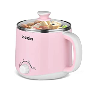 Dezin Electric Hot Pot, Rapid Noodles Cooker, Stainless Steel Mini Pot 1.6 Liter, Perfect for Ramen, Egg, Pasta, Dumpling, Soup, Porridge, Oatmeal with Temperature Control and Keep Warm Function, Pink
