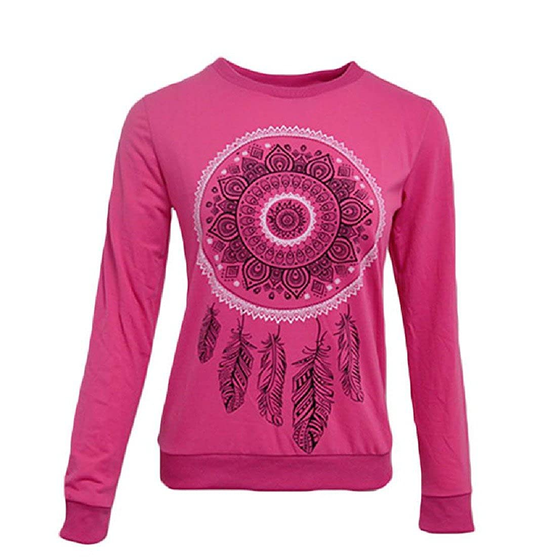 Godeyes Women Print Pure Color Crewneck Cotton Stylish Pullover Tunic Top